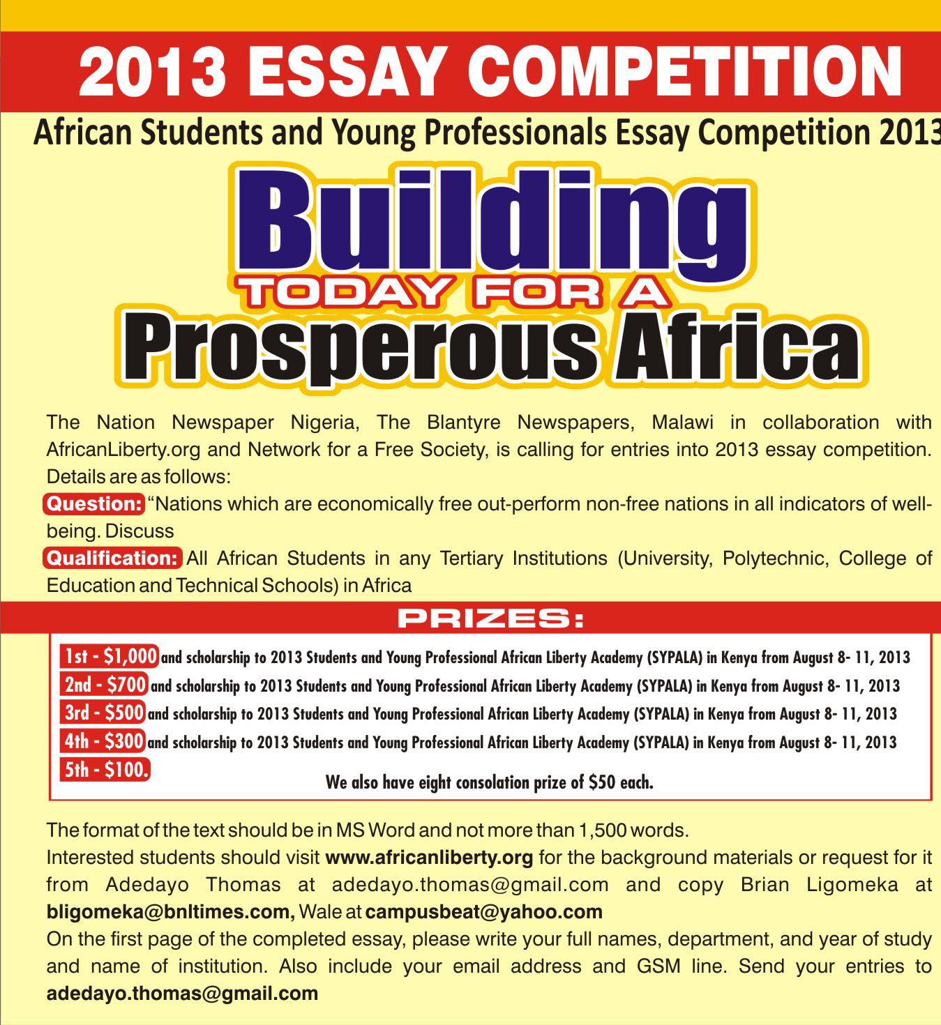 essay competition network for a society