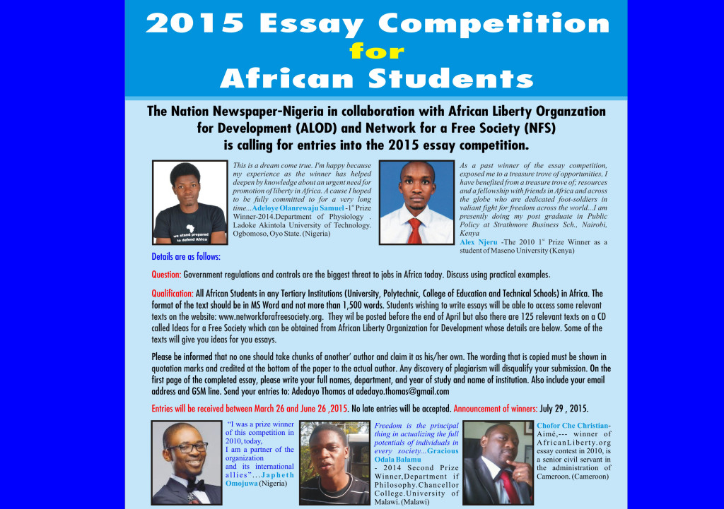 winners of the essay competition for african students  winners of the 2015 essay competition for african students