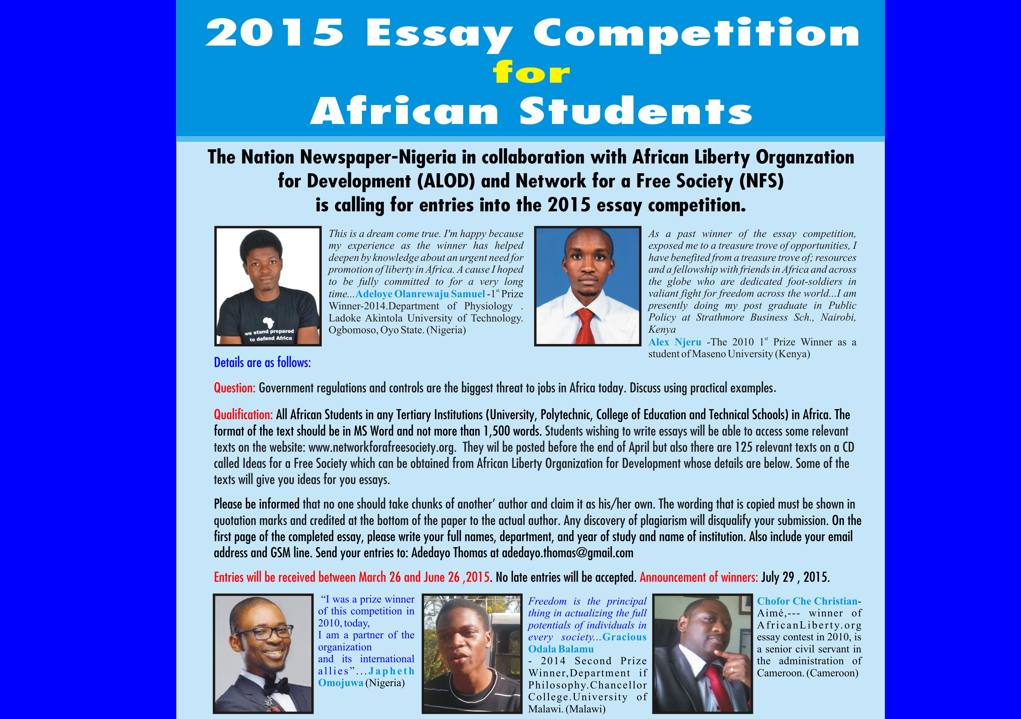 winners of the essay competition for african students winners of the 2015 essay competition for african students network for a society